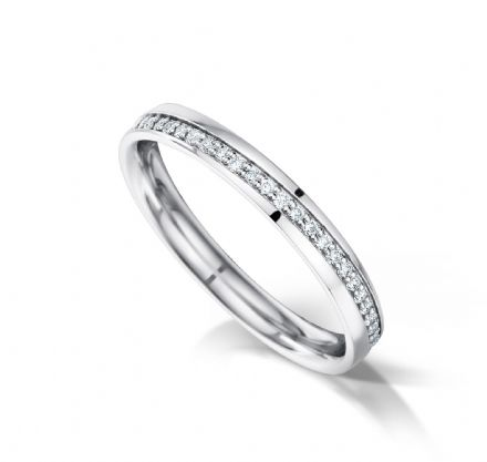 Angled grain set eternity/wedding ring, platinum. 2.7mm x 1.3mm. Full coverage